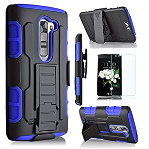 LG K7 Case, Starshop [Heavy Duty] Dual Layers with Kickstand and Locking Belt Clip With Screen Protector