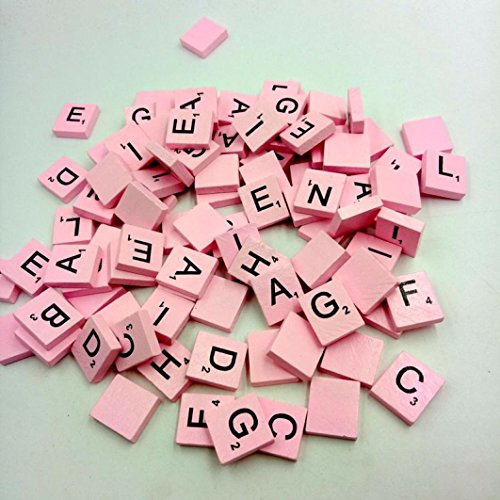 Wooden Toy  100 Wooden Scrabble Tiles Black Letters Numbers For Crafts Wood Alphabets By Dacawin  Pink