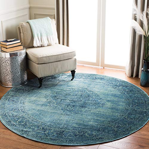 Safavieh Vintage Premium Collection VTG112-2220 Transitional Oriental Turquoise and Multi Distressed Silky Viscose Round Area Rug (8' - 8 Area Round Multi Rug