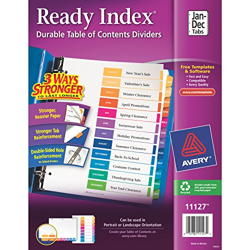 Avery Ready Index Table of Contents Dividers, Jan-Dec, 12 Tabs, 24 Sets (11127) (12 Tab Index)