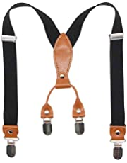 Cute Suspenders for Kids and Baby - Adjustable Elastic X-Band Strong Braces 4 Clips
