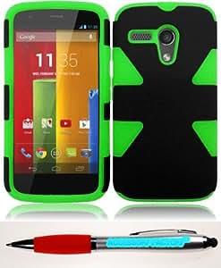 Accessory Factory(TM) Bundle (the item, 2in1 Stylus Point Pen) For Motorola Moto G Dynamic Slim Hybrid Cover Case - Black+Neon Green