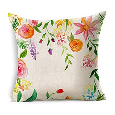 Usstore 1PC Decorative Pillowcases Zipper Flowers Linen Square Throw Pillow Cover Cafe Home Decoration for Living Sofas Beds Room (Yellow Room Chairs)