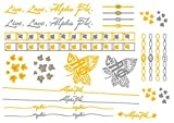 A-List Greek Metallic Temporary Tattoos - Alpha Phi Gold, Silver Sorority Symbols, Forget-Me-Not, Lily, Rings, Bracelets, Necklaces | Premium Body Jewelry 2 Sheets Tattoo Set