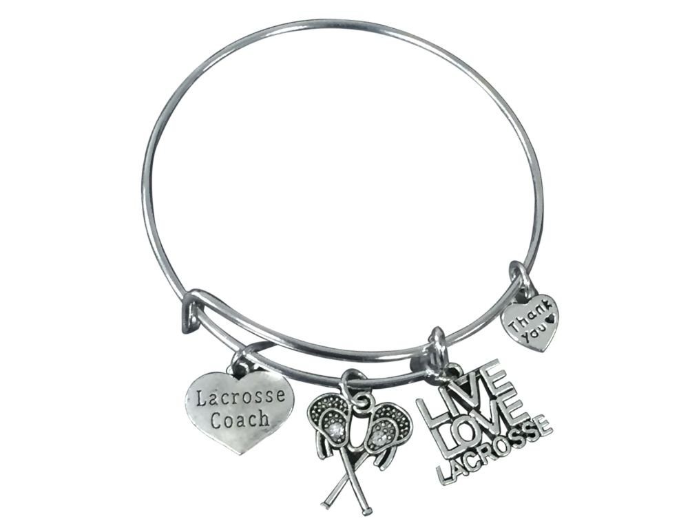 Lacrosse Coach Bracelet - Lacrosse Jewelry for Coaches - Lacrosse Charm Bangle- Lacrosse Coach Gift