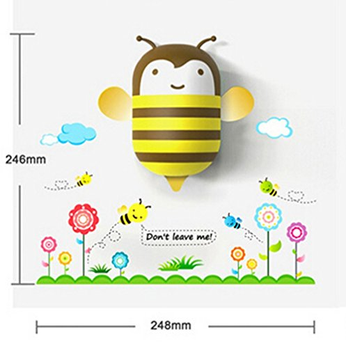 Topit Kids LED Night Light Lamp 3d DIY Wall Stickers Cartoon Cute Wallpapers With Sensor Plug In Auto Turn On Off For House Bedroom Decoration