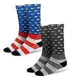 Pelagic Americamo Fishing Socks   2-Pack   American Flag and Fish Design