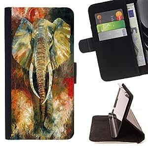 - Elephant - - Caja de la carpeta del tir¨®n del cuero de la PU [con ranuras para tarjetas y cierre de solapa magn¨¦tica] P¨¢rese cubierta de la caja FOR HTC One M7 Skull Market