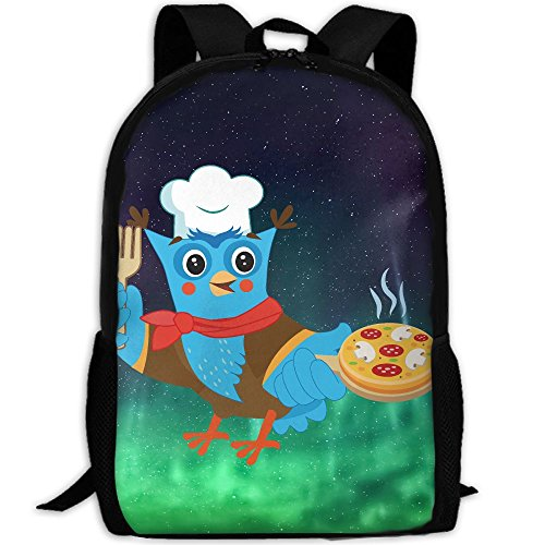 ZQBAAD Owl Chef Pizza Cute Luxury Print Men And Women's Travel Knapsack