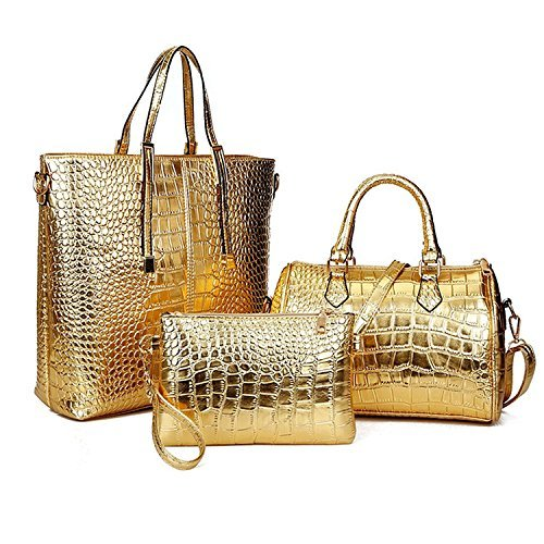 Gold Multi Leather - Women Stylish 3 Piece Bag Set,BBDI Alligator Pattern Lash Package PU Leather Shoulder Tote Purse Bag - Golden