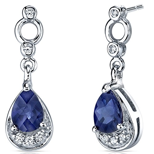 Simply Classy 2.00 Carats Created Blue Sapphire Dangle Earrings