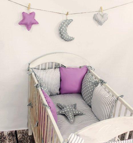 Baby Nestchen Bettumrandung 210 cm Design4 Bettnestchen Kantenschutz Kopfschutz für Babybett Bettausstattung
