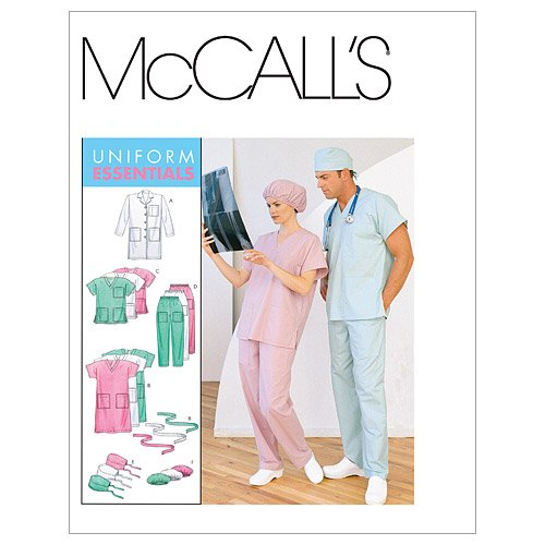Sewing Hat Pattern Top - McCall's Patterns M6107 Misses'/Men's Lab Coat, Dress, Top, Pull-On Pants, Hats and Tie Belt, Size Z (XLG-XXL)