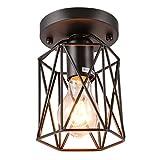 Uarter Retro Vintage Flush Mount Ceiling Light, Antique 1-Light Metal Square Black Chandelier Lamp, Fixture, Suitable for E26, Black (Bulb not Included)