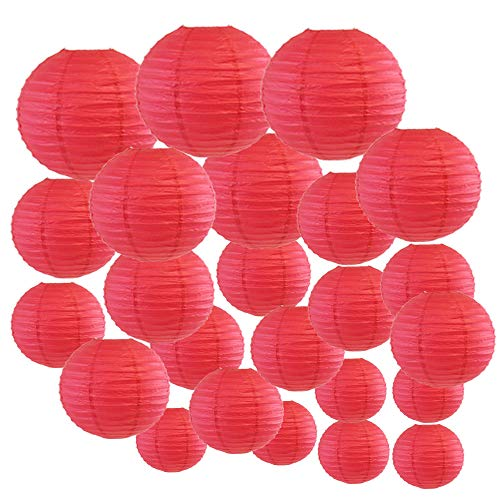 Just Artifacts Decorative Round Chinese Paper Lanterns 24pcs Assorted Sizes (Color: Flamingo Pink) -