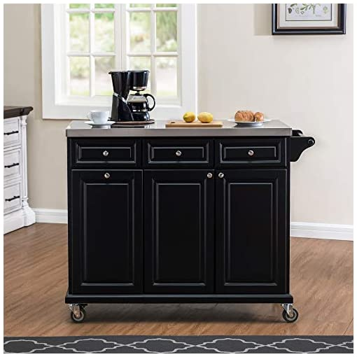 Kitchen SJ COLLECTION Claudine Mobile Kitchen Cart with Stainless Steel Countertop, Black modern kitchen islands and carts