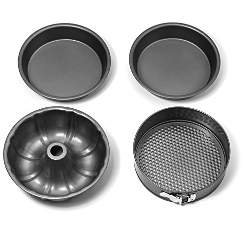 Elite Kitchenware 4 Piece Nonstick Cake Pans Set with 9 Inch Round Cake Pans, 9 Inch Spring form Cake Pan and 10 Inch Bundt Cake Pan (Cake Down Chocolate German Upside)