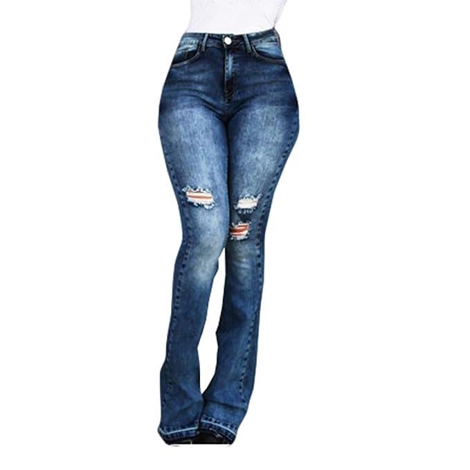 Mujer Pantalones Acampanados Vaqueros Cintura Alta Slim Fit ...