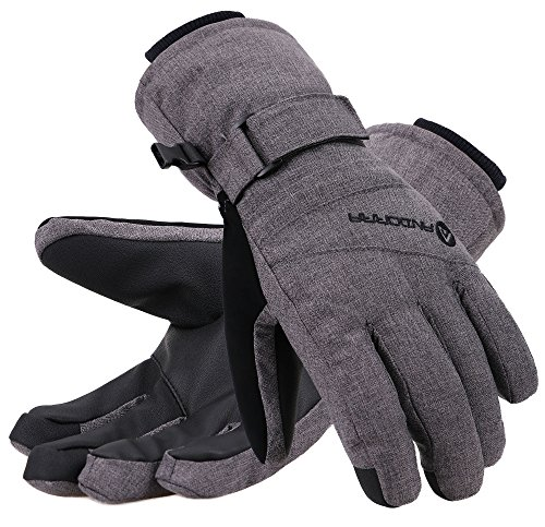 Andorra Snow Gloves Women Thinsulate Insulated Waterproof Snowboard Gloves, Grey, M