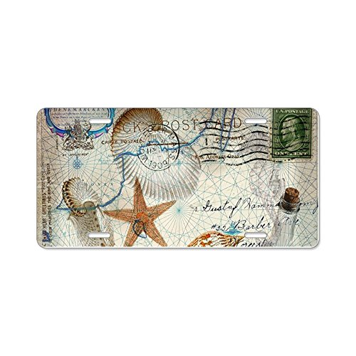 CafePress - seashells nautical map vintage anchor Aluminum Lic - Aluminum License Plate, Front License Plate, Vanity - Seashell Map