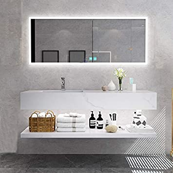 Wandasc 51inch Bathroom Vanity Cabinet Sets Rock Slab Vanity Sink With Led Mirror And Brass Faucet Pop Up And T Trap Amazon Com