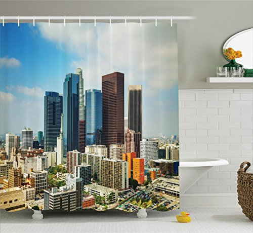 Scene Street Decor (Fabric Shower Curtain Apartment Decor by Ambesonne, Los Angeles USA America Cityscape on Sunny Day Colorful Office Buildings Streets Scene, Bathroom Shower Curtain Set with Hooks, Orange Blue Brown)