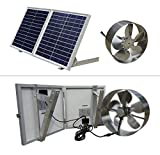 12 volt solar panel and fan - ECO-WORTHY 25W Solar Powered Attic Ventilator Gable Roof Vent Fan with 30W Foldable Solar Panel
