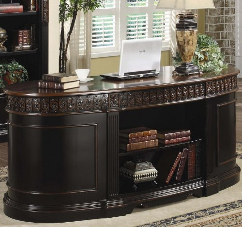Oval Shaped Floral Trim - Nicholas Office Desk in Two Tone Finish - Coaster 800921