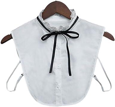 Idopy Soporte de Encaje para Mujer Casual Falso Desmontable Cuello Falso Nudo de Arco Medias Camisas Blanco: Amazon.es: Ropa y accesorios