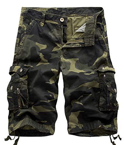 chouyatou Men's Active Normal Waist Loose Multi-Pocket Versatile Twill Cargo Shorts (40, Camo-Army)