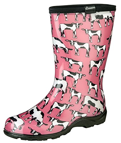 Bow Clog (Sloggers Women's Waterproof Rain and Garden Boot with Comfort Insole, Cow-abella Bubble Gum, Size 8, Style 5017CWP08)