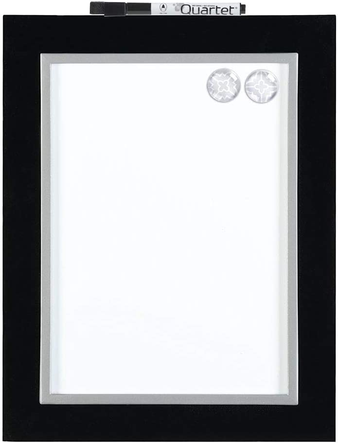 "Quartet Magnetic Dry-Erase Board, 8-1/2"" x 11"" Whiteboard, Home Organization, Black/Silver Frame (50726)"