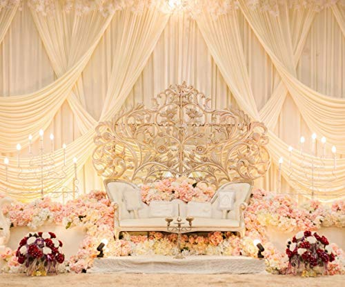 (Cream Blush Wedding Scene Backdrop for Photography Romantic Curtain Pink Flowers Scenery Photo Booth Background Printed with Golden Chair 10x8 ft)