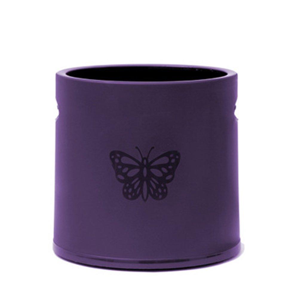 Battletter Office Hotel Trash Can Household Dustbin with Butterfly Pattern (Purple)