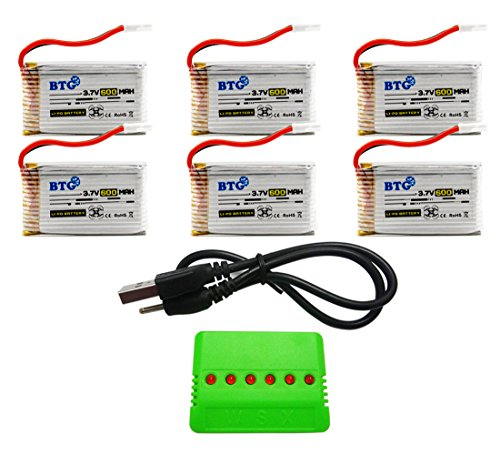 BTG 3.7V 600mAh Battery & X6 Battery Charger for X708 X708W UFO 3000 Halo 3000 GoolRC T32 T5W JJRC H42 UDI U45 Syma X5C X5SW X5C-1 X5SC X5SC-1 CX-30W CX-31 M68R Drone Quadcopter
