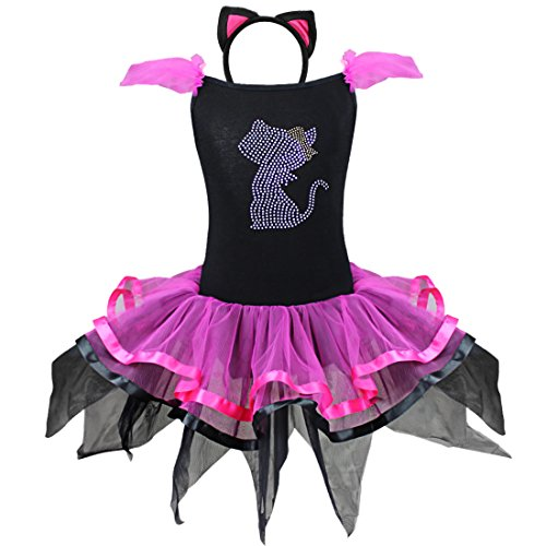 iEFiEL Toddlers Girls Rhinestone Kitty Costume Tutu Dress Ear Headband (4T) (Pink Cat Halloween Costume Toddler)