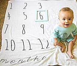 "Month to month baby blanket is THE perfect gift for the expecting mom! 47""x47"" swaddling blanket is made of soft muslin and is machine washable. Make your blanket unique with our adorable add-ons!"