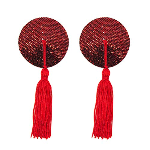 BESTOYARD Womens Sexy Silicone Sequin Round Tassels Nipple Covers Adhesive Pasties Bra (Red)