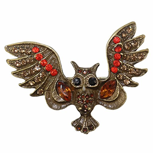 kockuu Vintage Style Owl Brooch Pin/Brass and Gems/Owl Full Body Handcrafted Bird Lapel Pin Brooch for Bird Lovers Women Girls Boys