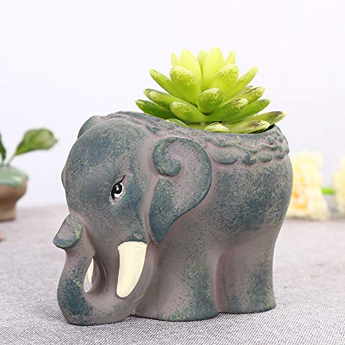 Better-way Friendly Elephant Flower Pot, Shabby Chic Ceramic Succulent Planter Orchid Pots Tiny Flower Plant Containers(Home Decor Accents)