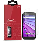 iCarez [HD Clear] Screen Protector for For Moto G3 G (3RD Generation ) [Unique Hinge Install Method with Kits] Easy Install with Lifetime Replacement Warranty [3-Pack] - Retail Packaging
