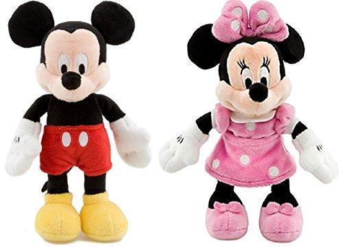 Mouse Disney Mickey Doll (Disney Store Mickey & Pink Minnie Mouse Mini Bean Plush Doll Set 9 Inch)