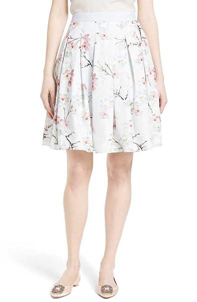 1fc9d764c Ted Baker TILLYE Oriental Blossom Burnout Pleated Skirt in Light Grey (3  (US 8