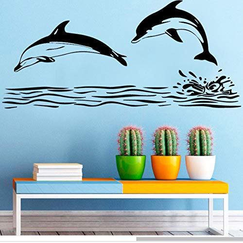wsydd Retro Dolphin Wall Stickers Creative for Kids Room Decoration Living Room Bedroom showerroom Decor Wall Decal Mural Wall-Sticker 90X43cm (Retro-kunststoff)