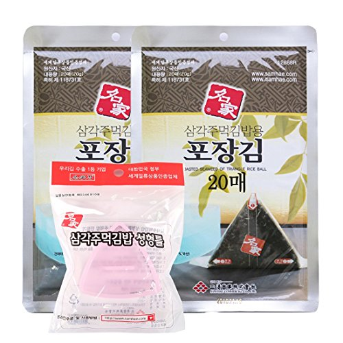 Myungga, Onigiri Rice Ball Triangle Sushi Seaweed Wrappers Nori set, (20sheets ×2pack) + mold