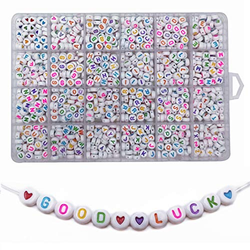×7mm White Round Acrylic Letter Beads with Colourful Alphabet A-Z and Heart for Jewelry Making Bracelets Necklaces Key Chains and Kids Jewelry Each Letter Included ()