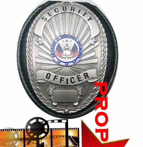 Fleetsharp - Buiding Security/Door Guard Protect Our Property Movie Prop Badge pin Back in Silver with Leather Holder, Belt Clip, Neck Chain, Card - Forces Badge Security