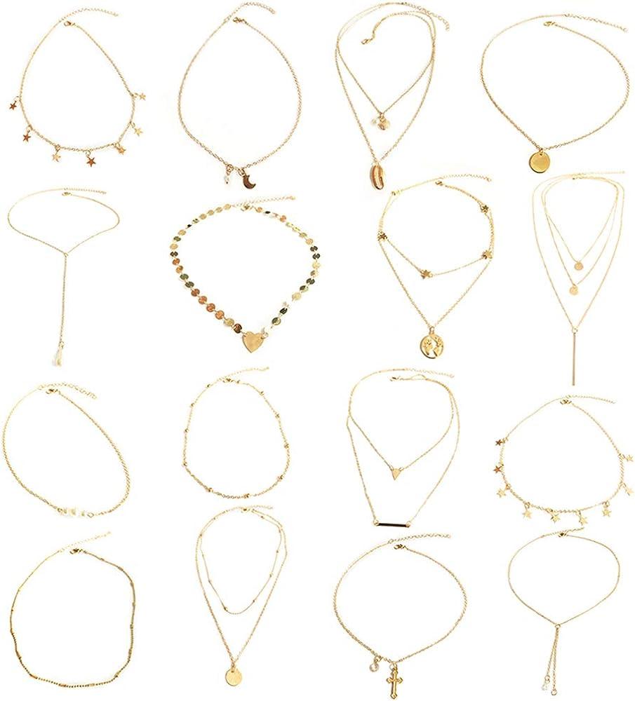LABOTA 16 Piezas En Capas Collar Gargantilla Collar Colgante Ajustable Gargantilla Collar de Cadena de Múltiples Capas Conjunto para Mujeres Niñas