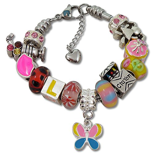 Add Multi Silver Charm (Girls Charm Bracelet With Charms, Fits Pandora Jewelry, First Day Of School, Pink 6.5)