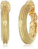 Anne Klein Women's Gold Tone Rimmed Hoop Clip On Earrings